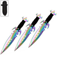 7.5 Inch Deadly Triad of Skulls Dagger Point 3 PC Throwing Knives Set Titanium