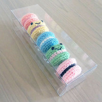 Handmade Amigurumi Crochet Play Food Macarons & Gift Box
