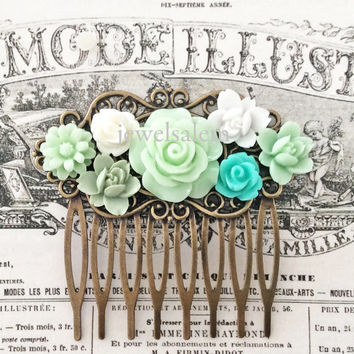 Mint Green Wedding Hair Comb Bridal Headpiece Hair Accessories Bridesmaid Pastel Green Light Mint Seafoam White Flowers Floral Bird Romantic