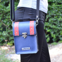 Leather Blue and Red Handbag smart /handmade leather bag/Laptop/Men's Bag leather /men leather bag/