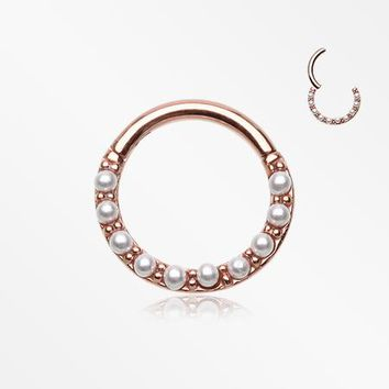 Rose Gold Brilliant Pearlescent Front Clicker Hoop Ring