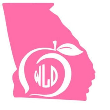 Georgia State Decal Georgia Peach Decal Monogram Car Decal Window Sticker Vinyl Decal Monogram Georgia State