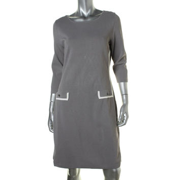 Lauren Ralph Lauren Womens Contrast Trim 3/4 Sleeves Sweaterdress
