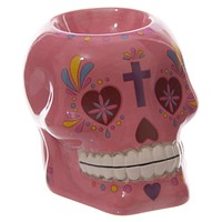 Skull Oil Burner Tealight Holder Candle Mexican Floral Candy Skull
