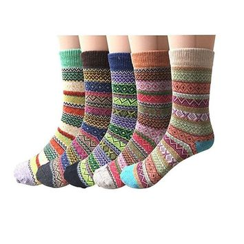 DCCKUG3 Forthery Socks, Women Men Fashion 5Pairs Solid Thick Wool Winter Warm Crew Slipper Home Socks