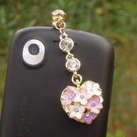 1PC Bling Crystal Flowers Cell Phone Earphone Stopper Anti dust Plug Charm for iPhone  4s,5,5c,5s, Samsung, HTC, Nokia