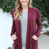 Coffee Shop Cardigan - Burgundy