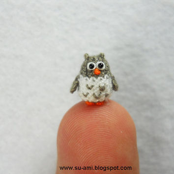 Cute Tiny Owl Micro Dollhouse Miniature Bird Fat Grey by suami