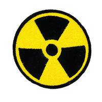 NUCLEAR RADIATION SYMBOL IRON-ON PATCH WARNING ZOMBIE DANGER EMBROIDERED BIKER