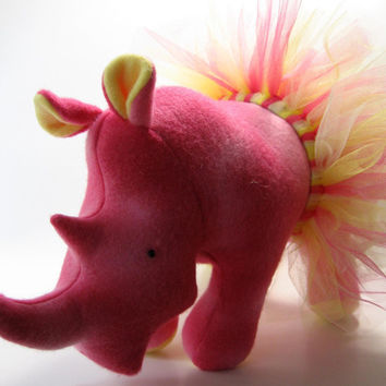 Lulu Dancing Rhinoceros, tutu, dancing, stuffed animal, plush, fleece