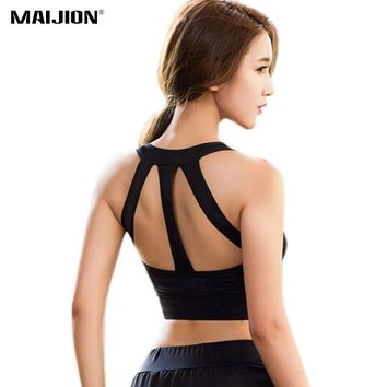 MAIJION Sexy Women Sports Bra Shockproof Running Yoga Bras Cropped Tops, Seamless Wirefree Gym Fitness Vest Workout Tank Top