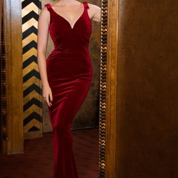 The Laura Byrnes Gilda Gown in Burgundy Velvet