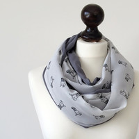 Pug Dog Scarf Two Sided Dog Patterned Infinity Circle Scarf Women Accessories, Fast Delivery