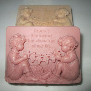 FRIENDS Soap. MOCHA, SWEETGRASS gift set with words on top, Friends Are One Of The Blessings Of Our Life, on three soaps, lightly scented