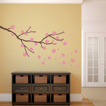 Cherry Blossom Decal - Branch with flowers wall Art - Flower Decor - Large