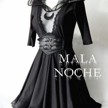 Goth moon dress,  Lace,  belt faux leather, lolita dress,  victorian dress,  dark,  bdsm,  moon top,  mesh dress,  skater dress
