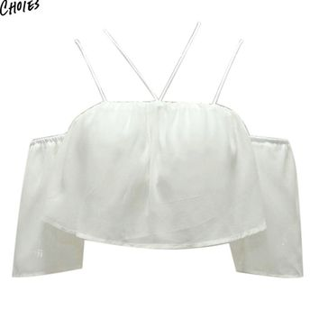 White Off Shoulder Cropped Chiffon Summer Flare Sleeve Backless Sexy Women High Street Short Top