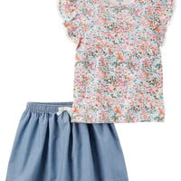 2-Piece Floral Top & Chambray Skirt Set