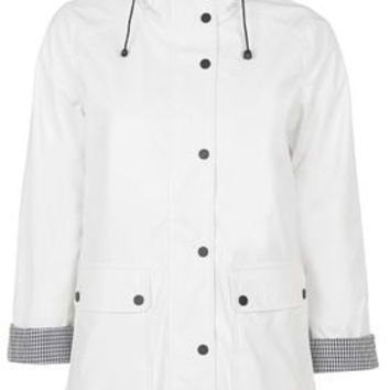 Gingham Trim Mac - White