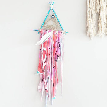 Dream Catcher- DreamCatchers- Turquoise Wall Decor- Wall Accent- Bohemian decor- Boho Decor- Native- Home Decor- Hippie- Mermaid- Triangle
