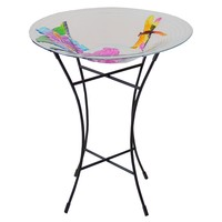 """21"""" Hand Painted Glass Dragonfly and Flower Spring Outdoor Garden Bird Bath"""