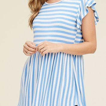 Ruffled Cap Sleeve Basic Baby Doll Tunic