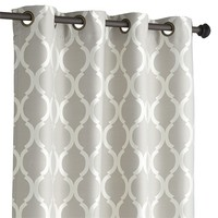 Moorish Tile Grommet Top Curtain - Gray