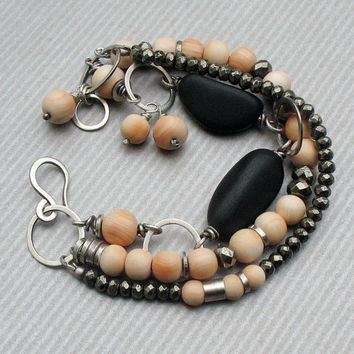 Chic Sterling Silver Beach Stone Multi Strand Bracelet, Gray and Peach Beaded Boho Bracelet, Pyrite and Vintage Angelskin Coral Beads OOAK