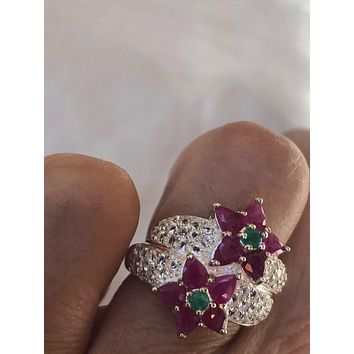 Vintage Handmade Pink Ruby, Emerald and white sapphire setting Sterling Silver gothic Ring