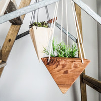 W/S Geometric Hanging Planter - Walnut Short