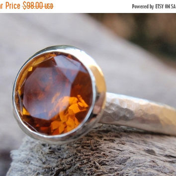 SALE 10% OFF 8mm natural brandy citrine gemstone ring november birthstone sterling silver stacking ring or solitaire made to orde