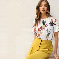 Floral And Plants Print Women's Blouse