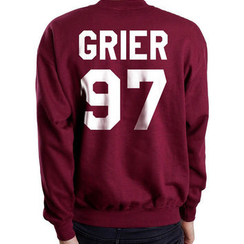 Grier 97 on back Nash Grier 97 Maroon Unisex Crewneck Sweatshirt