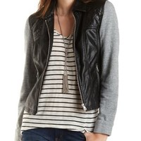 Faux Leather & French Terry Jacket by Charlotte Russe