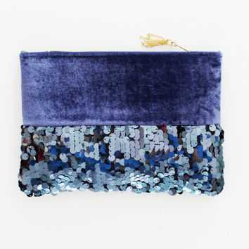 SPARK 3 / Navy sequin & blue velvet clutch bag - Ready to Ship