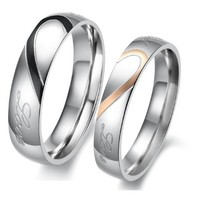 """Lover's Heart Shape Stainless Steel Couple Wedding Band Engraved Heart and """"Real Love"""" Engagement Anniversary Wedding Promise Ring, Ladies 6"""