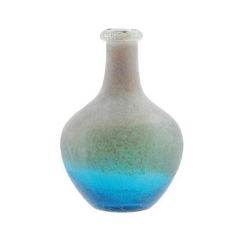 "12.25"" Azure Blue Crackled and Brown Frosted Hand Blown Glass Vase"