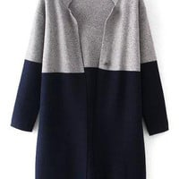 Grey Navy Long Sleeve Knit Cardigan
