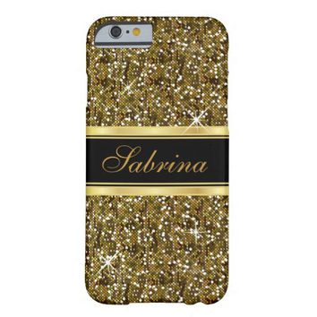Gold Glitter Confetti with Gold Accents Barely There iPhone 6 Case
