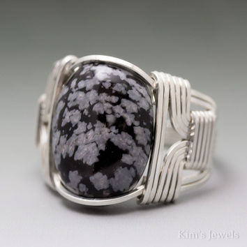 Snowflake Obsidian Sterling Silver Wire Wrapped Cabochon Ring