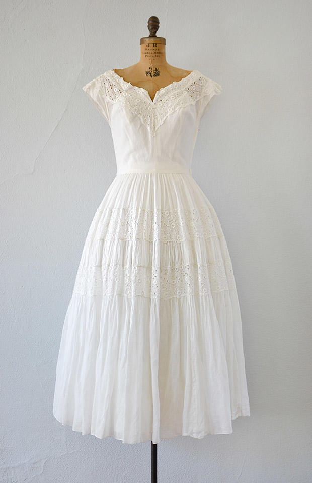 Vintage 1940s white eyelet wedding dress from for White cotton eyelet wedding dress