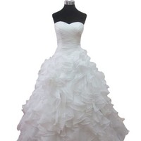 ZYJdress White Organza Wedding Dresses with Piping Lace up