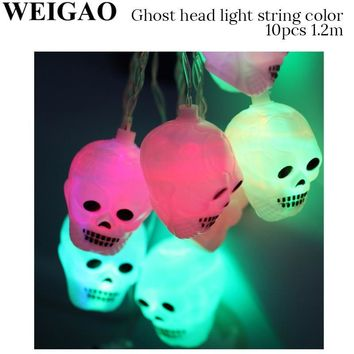 WEIGAO Halloween Party Battery LED Lights Skull Bat Pumpkins String Lights Bulbs Glowing Party Supplies For Outdoor Decorations