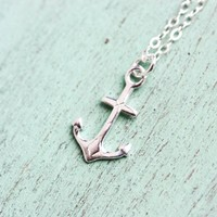 Tiny Sterling Silver Anchor Necklace