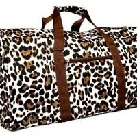 "Brown Animal Print Duffle Carrying Bag 21"" Large"