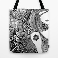 Sunny Girl with Tattoo Tote Bag by DoDOODLE