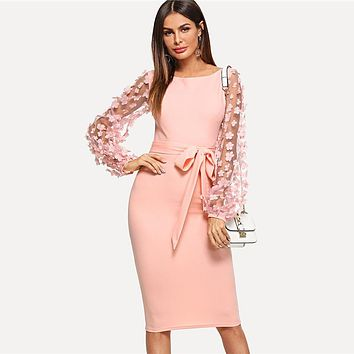 Plain Flower Applique Elegant Bodycon Party Dress Office Mesh Sleeve Knee Length Belted Women Pencil Midi Dresses