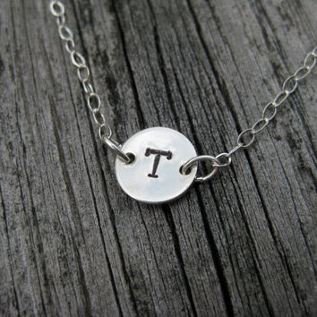 Initial Letter Necklace Sterling Silver Simple Minimalist Celebrity Inspired Teen Tween Birthday Gift Personalized Jewelry