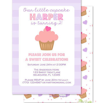 "Cupcake Party Invitations - Personalized 5 x 7"" - Double-Sided and Printed Birthday Invitations - Pink and Purple Cupcake Party"