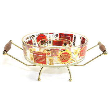 Chip Dip Recipe Bowls Set (Large & Small Plus Serving Stand) - Mid-Century Atomic Party Server - Retro Red and Gold - Vintage Home Kitchen